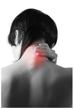 back of woman's neck throbs with pain